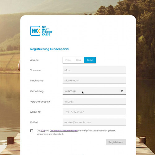 Development of an online customer portal for the insurance company Haftpflichtkasse