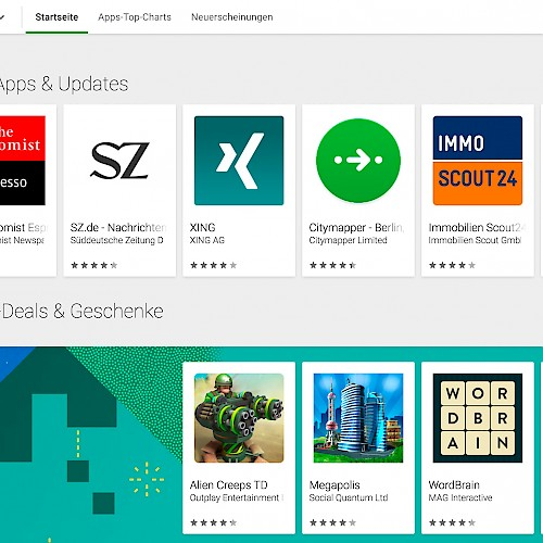 SZ-App als Featured App im Google Playstore